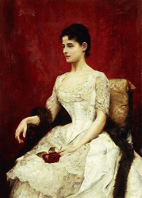 Julius Leblanc Stewart: Portrait einer Dame in einem Spitzenkleid