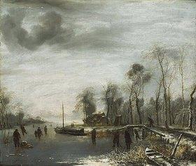 Jan van de Cappelle: Winterlandschaft mit Eisläufern