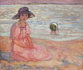 Henri Lebasque: Frau in einem rosa Kleid am Meer (Femme à la Robe Rose au bord de la Mer)
