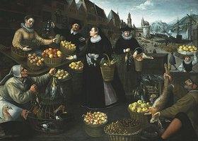 Georg Flegel: Allegorie auf den Herbst: ein Obst- und Gemüsestand am Weinmarkt in Frankfurt