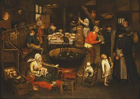 Pieter Brueghel d.J.: Besuch in einer Bauernstube