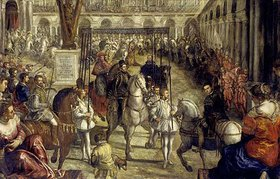 Domenico Tintoretto: Einzug Philipps II. in Mantua 1549. Aus der 2. Folge des Gonzaga-Zyklus'