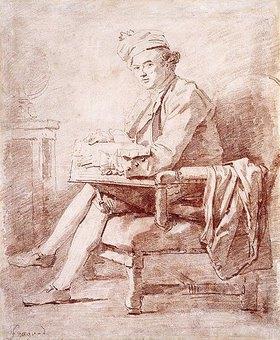 Jean Honoré Fragonard: Porträt von Joseph Jérôme Lefrançais de Lalande, ein Buch haltend