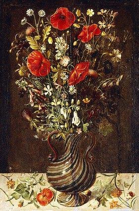 Ludger tom d.J Ring: Mohnblumen, Butterblumen, Kornblumen, Disteln und andere Feldblumen in einer Vase aus Netzglas à la façon de Venise