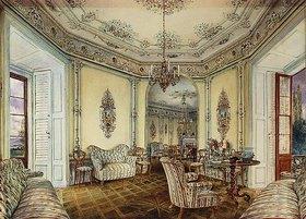 Rudolf von Alt: Innenanischt eines Salons des Schlosses Oberwaltersdorf