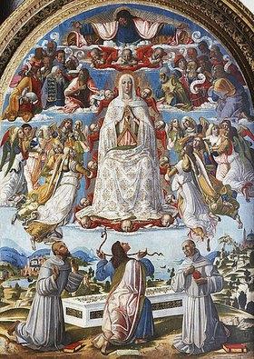 Benvenuto di Giovanni: Mariä Himmelfahrt mit dem heiligen Thomas, der den Gürtel empfängt und den Heiligen Franz von Assisi und Antonius von Padua. 1480er Jahre