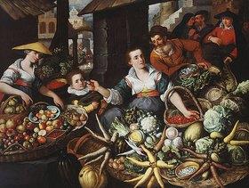 Jean Baptiste de Saive: Obst-und Gemüsestand auf einem Markt