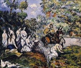 Paul Cézanne: Scène Légendaire (Die Figur auf dem Pferd soll Sancho Panza, der Begleiter von Don Quichotte sein)