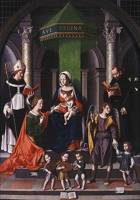 Marco Palmezzano: Die mystische Hochzeit der heiligen Katharina begleitet von den Erzengeln Raphael und Tobias