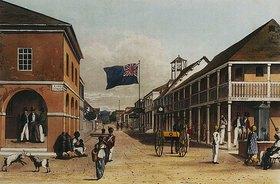 James Hakewill: Ansicht einer jamaikanischen Stadt (nach einer Zeichnung von 1820-21)