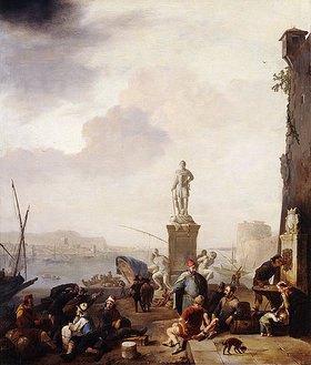 Johannes Lingelbach: Eine Hafenstadt am Mittelmeer mit einem Denkmal für Ferdinando I. de' Medici, Großherzog der Toskana
