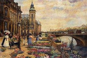 Ulpiano Checa y Sanz: Blumenmarkt an der Seine