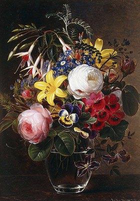 Johan Laurentz Jensen: Rosen, Lilien, Stiefmütterchen und andere Blumen in einer Vase