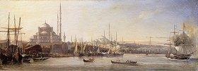 Antoine Léon Morel-Fatio: Das Goldene Horn mit der Süleymaniye-Moschee und der Fatih-Moschee, Konstantinopel