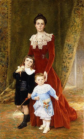 Timoléon Maria Lobrichon: Portrait einer Dame mit ihren Kindern