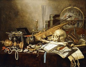 Pieter Claesz.: Ein Vanitas-Stillleben mit Musikinstrumenten, einem goldenen Pokal, einem Globus, einem Schädel und einem Globus