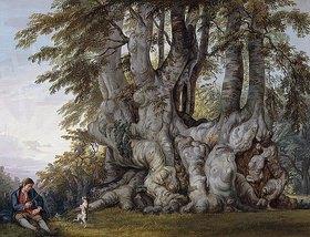 Paul Sandby: Neben einer alten, knorrigen Buche läßt ein Junge einen Hund tanzen