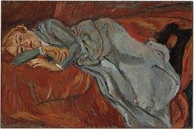 Chaim Soutine: Frau auf einem roten Diwan (Femme couchée sur un divan rouge)