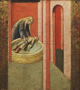 Pietro Lorenzetti: Die heilige Elisabeth von Ungarn rettet ein Kind aus einem Brunnen