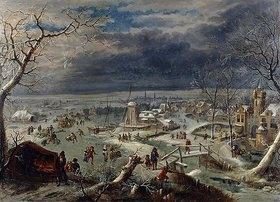 Jan Griffier d. Ä.: Winterlandschaft mit Schlittschuhläufern, Antwerpen im Hintergrund