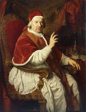 Pierre Subleyras: Dreiviertelportrait von Papst Benedikt XIV (1675-1758), seinen rechten Arm zum Segen erhoben