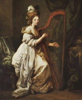 Angelika Kauffmann: Bildnis von Elizabeth Ewer in einem weißen Kleid, eine Harfe spielend