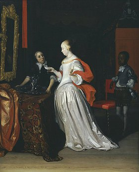 Eglon Hendrik van der Neer: Eine Dame mit Brief wird bedient von einem Pagen, während eine Magd ein Silberkrug und ein Becken auf einen Tisch stellt