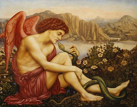 Evelyn De Morgan: Engel mit Schlange in einer Gebirgslandschaft