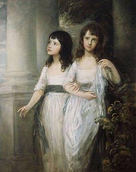 Thomas Gainsborough: Doppelbildnis der Schwestern Sloper, beide in einem weißen Kleid mit blauer Schärpe