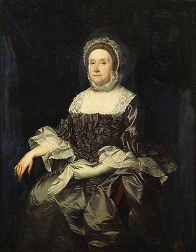 Englisch: Portrait von Deborah Worsley of Platt in einem violetten Kleid mit weißer Spitze, einen Handschuh haltend