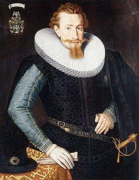 Gotthardt (Godert) de Wedig: Dreiviertelportrait eines fünfundzwanzigjährigen Mannes in einem schwarzen Wams und einer weißen Halskrause