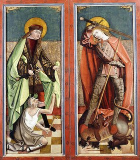 Johann Koerbecke: Der heilige Martin mit dem Bettler und der heilige Georg mit dem Drachen (Altarflügel)