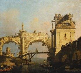 Canaletto (Giovanni Antonio Canal): Capriccio einer zerfallenen Renaissance-Arkade