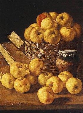 Luis Melendez: Äpfel in einem Korb, ein Gefäß und Schachteln auf einem Tisch