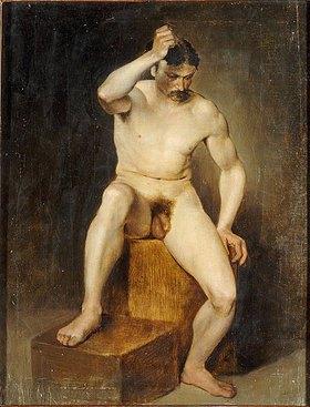 Hans Canon: Männlicher Akt, sitzend