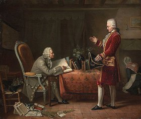 Französisch: Jean-Jacques Rousseau und René Louis de Girardin, der Maqrquis von Vauvray, im Château d'Ermelonoville. Frühes 19. Jahrhundert