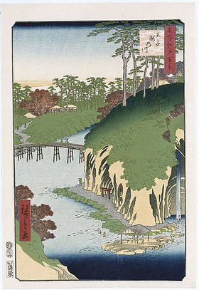Utagawa Hiroshige: River of Waterfalls, Oji', from the series 'One Hundred Views of Famous Places in Edo'. Ando Hiroshige (1797-1858). Oban tate-e