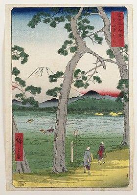Utagawa Hiroshige: Der Berg Fuji, Ansicht von der Straße Tokaido. Von 'Sechsunddreißig Ansichten des Berges Fuji'