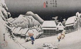 Utagawa Hiroshige: Nächtlicher Schneefall, Kambara. Aus der Serie 'Die 53 Stationen des Tokaido'