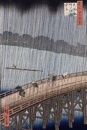 Utagawa Hiroshige: Ohashi, Plötzlicher Regenguss bei Atake. Aus der Serie 'Hundert berühmte Orte in Edo'