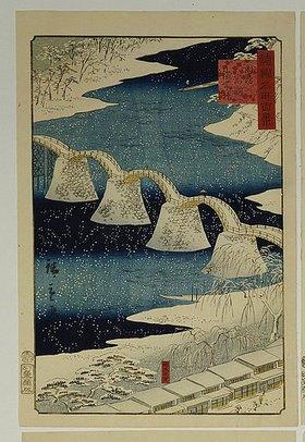 Utagawa Hiroshige: Die Brocade-Brücke im Schnee. Aus der Serie 'Hundert Ansichten von berühmten Plätzen in den Provinzen'