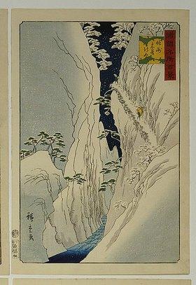 Utagawa Hiroshige: Kiso-Schlucht im Neuschnee. Aus der Serie 'Hundert Ansichten von berühmten Orten in den Provinzen'