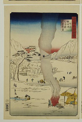 Hiroshige II.: Männer an einem Eisloch angeln Aale und andere Fische. Aus der Serie 'Hundert Ansichten von berühmten Orten in den Provinzen'