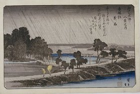 Utagawa Hiroshige: Night Rain at Azuma Shrine. From the series 'Eight Views of the Environs of Edo'