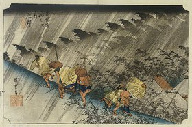 Utagawa Hiroshige: Driving Rain, Shono. From the series 'The Fifty Three Stations of the Tokaido'