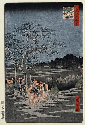 Utagawa Hiroshige: New Year's Eve foxfires at the Nettle Tree, Oji', from the Series, 'One Hundred Famous Views of Edo