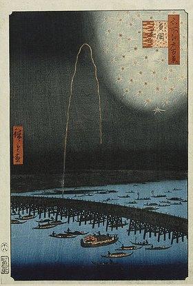 Utagawa Hiroshige: Feuerwerk bei Ryogoku. Aus der Serie 'Hundert berühmte Ansichten von Edo'. 19. Jh