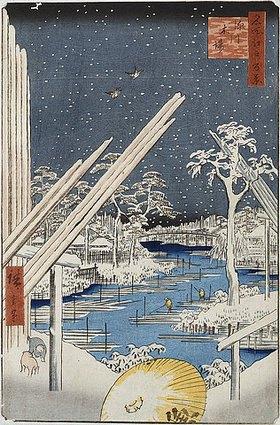 Utagawa Hiroshige: Lumberyards at Fukagawa', from the series 'One Hundred Views of Famous Places in Edo'
