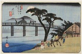 Utagawa Hiroshige: Nagakubo. Aus der Serie 'Die 69 Stationen des Kisokaido'