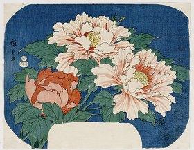 Utagawa Hiroshige: Drei Pfingstrosen vor blauem Hintergrund